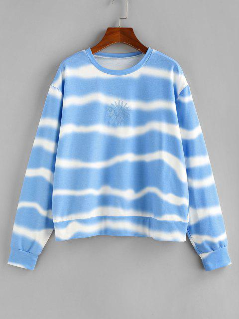 best ZAFUL Sun Embroidered Tie Dye Loose Sweatshirt - LIGHT BLUE S Mobile