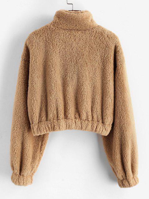 online Plush Half Zip Drop Shoulder Crop Sweatshirt - LIGHT COFFEE XL Mobile