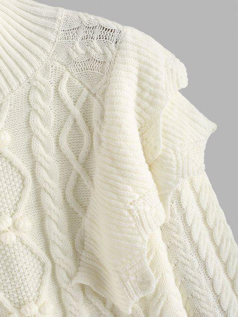 buy Layered Ruffles Cable Knit Pompoms Sweater - WHITE ONE SIZE Mobile