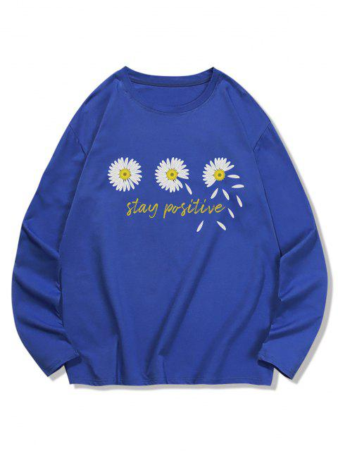 Dreifach Daisy Graphik Freizeit Langarm T-Shirt - Kobaltblau XL Mobile