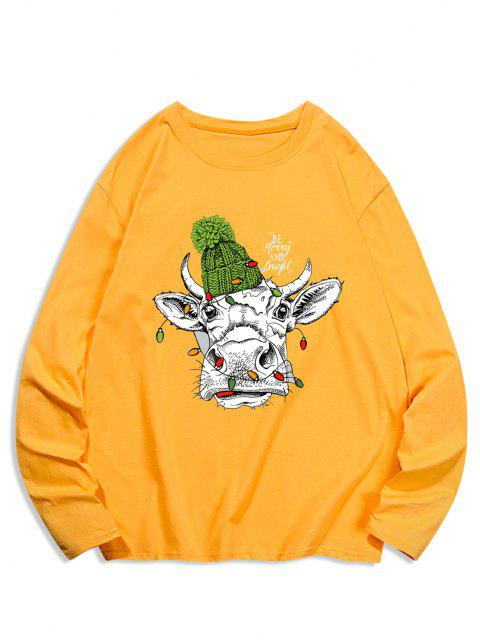 T-shirt Estampada Animal e Mangas Compridas - Marrom Dourado M Mobile