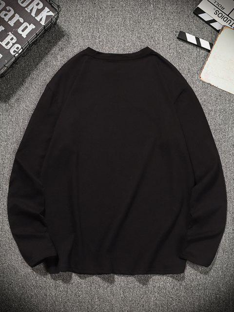 Camiseta de Manga Larga con Estampado Gráfico de Pescado - Negro L Mobile