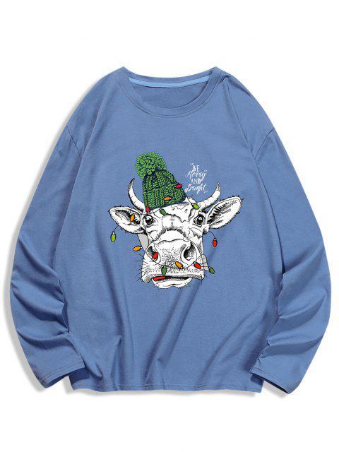 online Long Sleeves Animal Printed T-shirt - SILK BLUE S Mobile