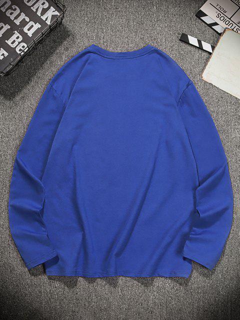 shop Fish Graphic Printed Long Sleeves T-shirt - DENIM DARK BLUE 2XL Mobile