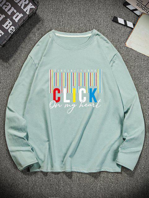 T-Shirt Casuale a Girocollo con Grafica di Lettere - Turchese Nera 2XL Mobile