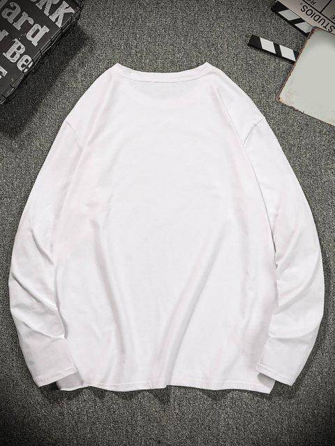 Camiseta de Lazer de Gola Redonda Estampa Gráfica - Branco M Mobile