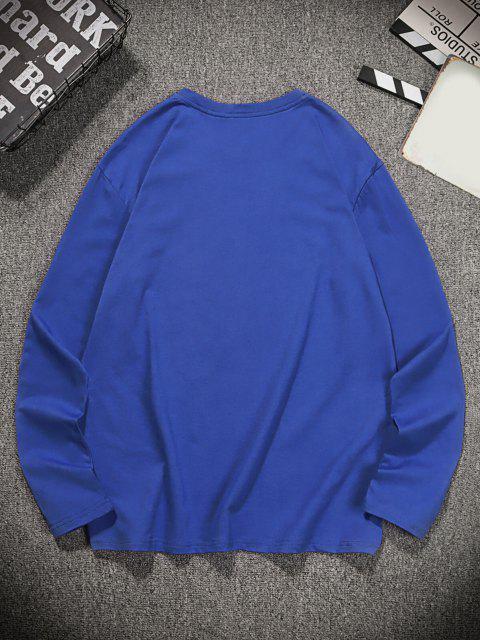 buy Unique Graphic Leisure Crew Neck T Shirt - NAVY BLUE L Mobile