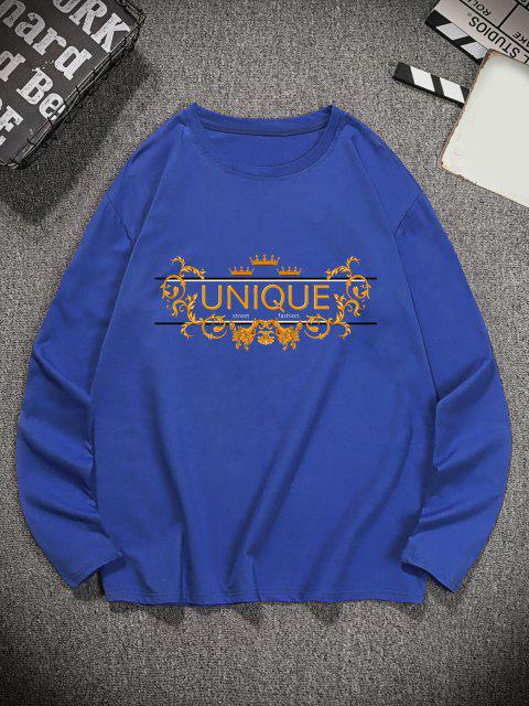 lady Unique Graphic Leisure Crew Neck T Shirt - NAVY BLUE M Mobile