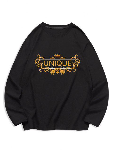 fancy Unique Graphic Leisure Crew Neck T Shirt - BLACK 2XL Mobile