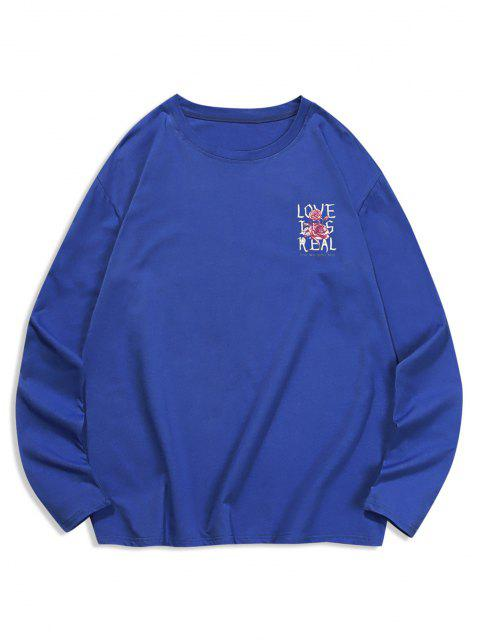 Camiseta com Estampa Floral de Gola Redonda - Azul cobalto S Mobile