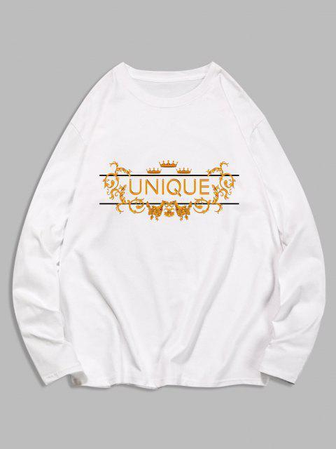 unique Unique Graphic Leisure Crew Neck T Shirt - WHITE 2XL Mobile