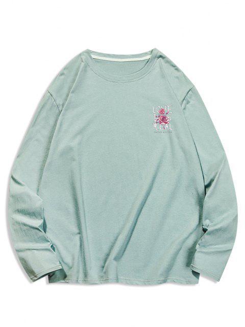 Camiseta Casual Floral con Cuello Redondo y Estampado de Letras - Turquesa Oscura XL Mobile