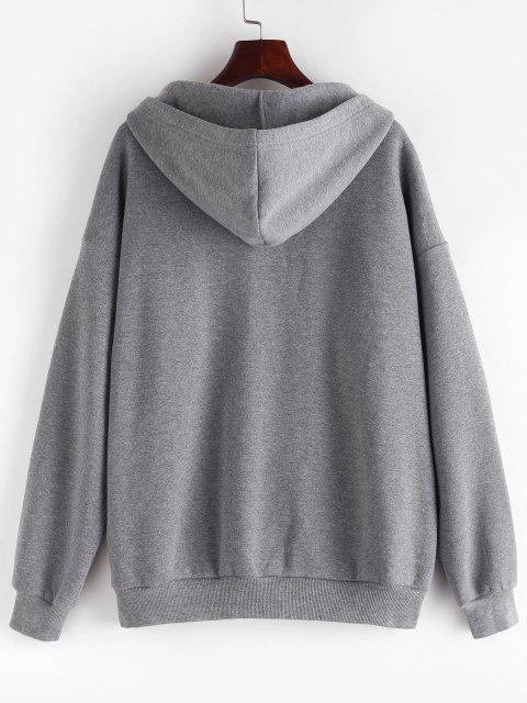 fashion ZAFUL Fleece Lined Drop Shoulder Hooded Zip Coat - LIGHT SLATE GRAY M Mobile
