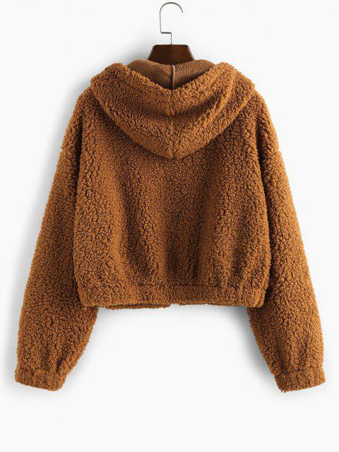 best ZAFUL Faux Fur Drop Shoulder Hooded Coat - CARAMEL S Mobile