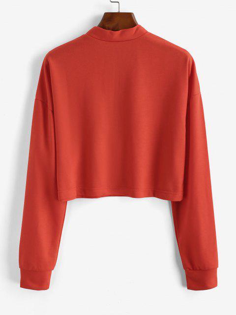 women's Half Zip Cropped Pullover Sweatshirt - ORANGE S Mobile