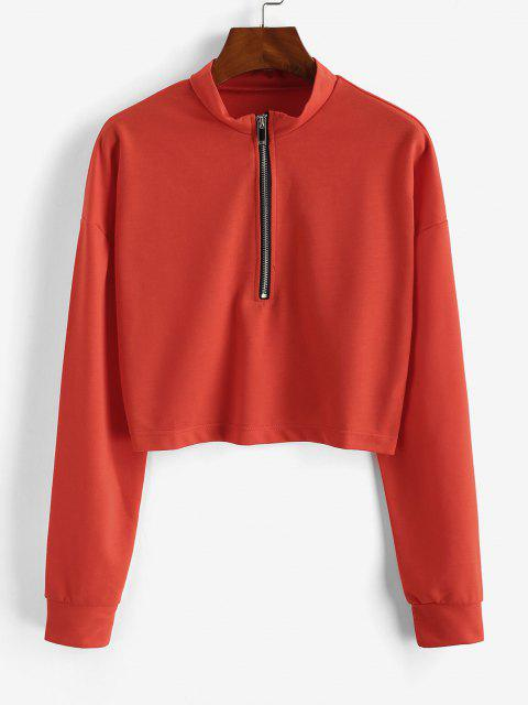 hot Half Zip Cropped Pullover Sweatshirt - ORANGE M Mobile