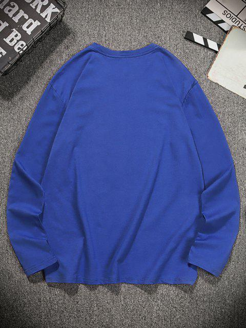 Long Sleeves Courage Tiger Pattern T-shirt - كوبالت بلو M Mobile