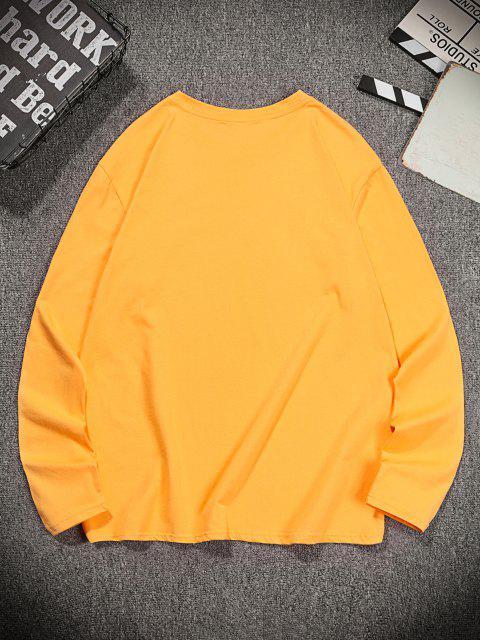 Camiseta de Lazer de Gola Redonda com Estampa Floral - Marrom Dourado 2XL Mobile