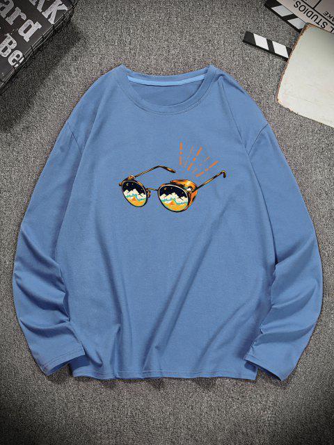 Camiseta Manga Larga Estampado Gafas de Sol - Gris Azulado S Mobile
