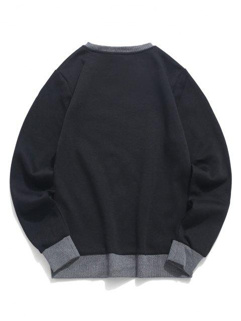 Sweat-shirt Motif de Ciel Montagne en Blocs de Couleurs en Laine - Noir L Mobile