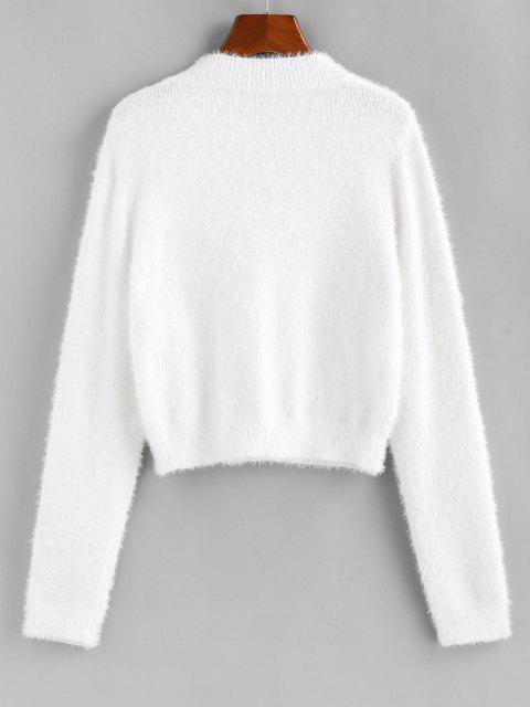 best ZAFUL Fuzzy Short Sweater - WHITE M Mobile
