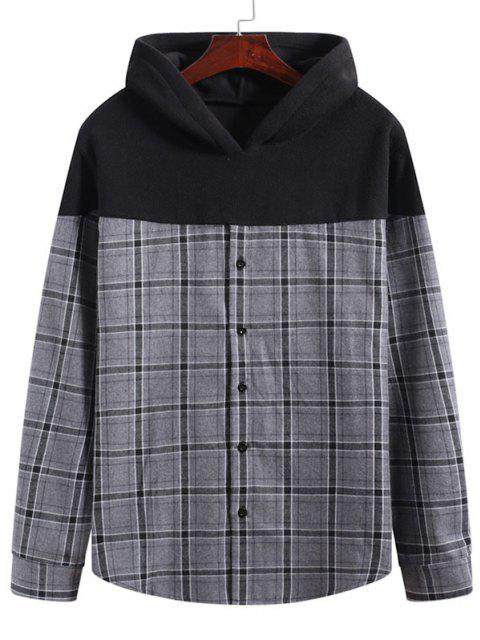 outfit Grid Print Button Up Fleece Patch Hoodie - MULTI-A XL Mobile