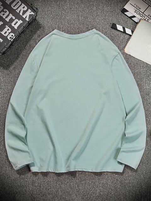 T-shirt Décontracté Ras du Cou à Motif - Turquoise Foncée 2XL Mobile