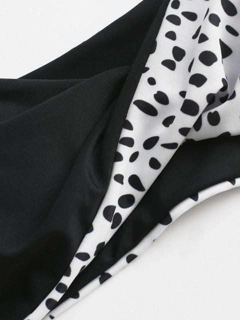 Bikini de Bandeau con Nudo Lateral con Estampado de Leopardo ZAFUL - Negro S Mobile
