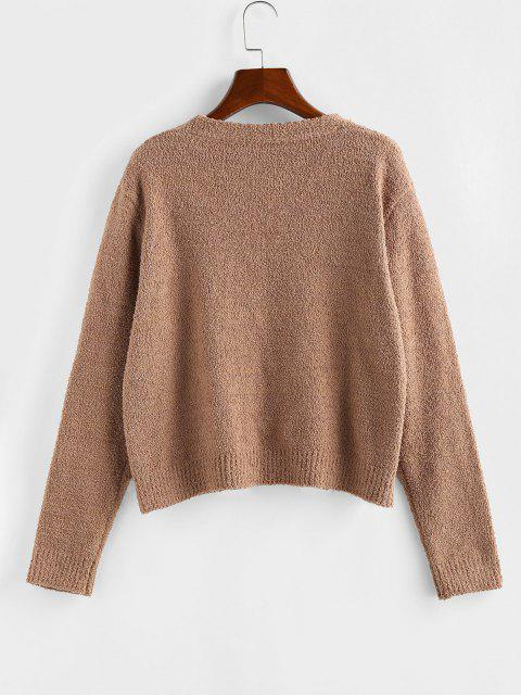 hot ZAFUL Open Front Plain Cardigan - COFFEE L Mobile