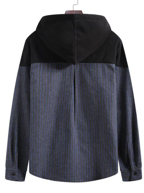 affordable Pinstriped Fleece Patch Casual Hoodie - MULTI-A 2XL Mobile