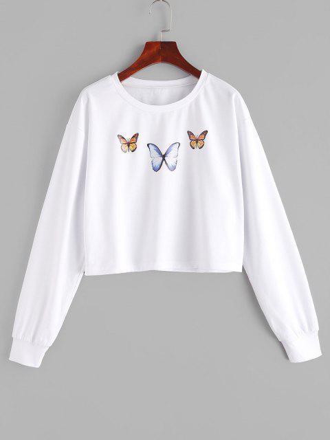 ZAFUL Drop Shoulder Butterfly Graphic Short Sweatshirt - أبيض L Mobile