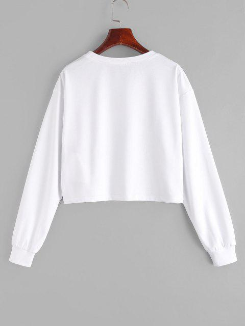 lady ZAFUL Drop Shoulder Butterfly Graphic Short Sweatshirt - WHITE S Mobile