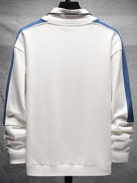 women's Color Blocking Letter Print Crew Neck Sweatshirt - WHITE S Mobile