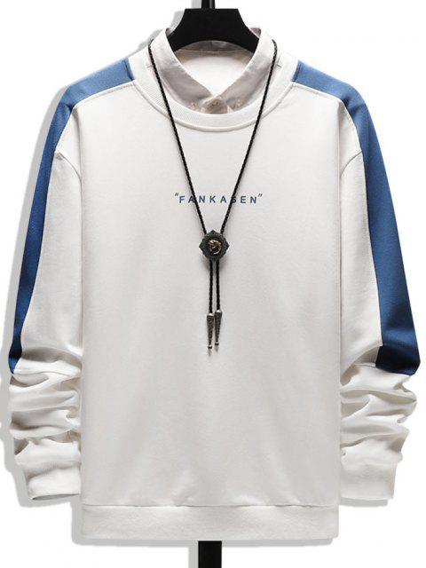 Sweat-shirt Lettre Imprimée en Blocs de Couleurs à Col Rond - Blanc XS Mobile
