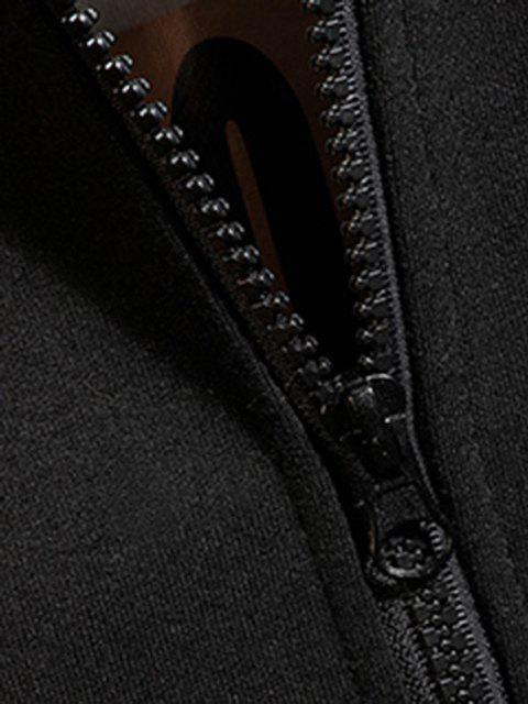 best Zip Up Hanzi Print Oriental Hoodie Jacket - BLACK 4XL Mobile