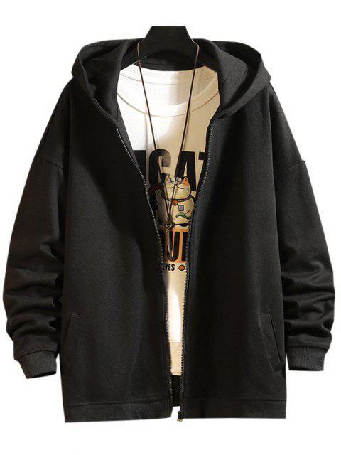 sale Zip Up Hanzi Print Oriental Hoodie Jacket - BLACK L Mobile