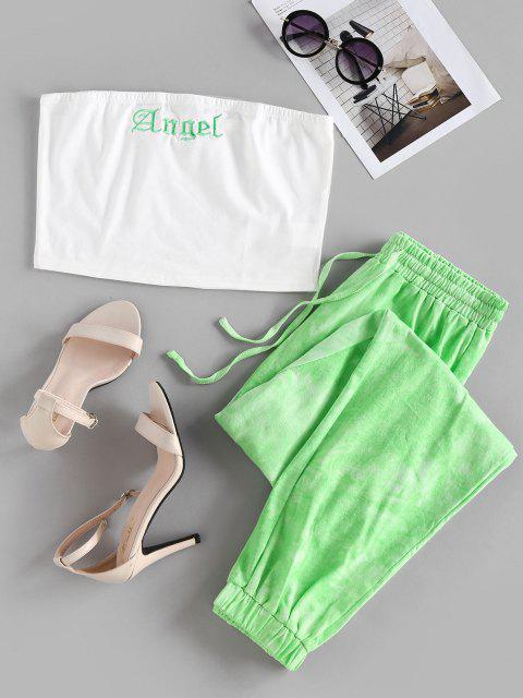shop ZAFUL Tie Dye Angel Graphic Strapless Jogger Pants Set - LIGHT GREEN S Mobile
