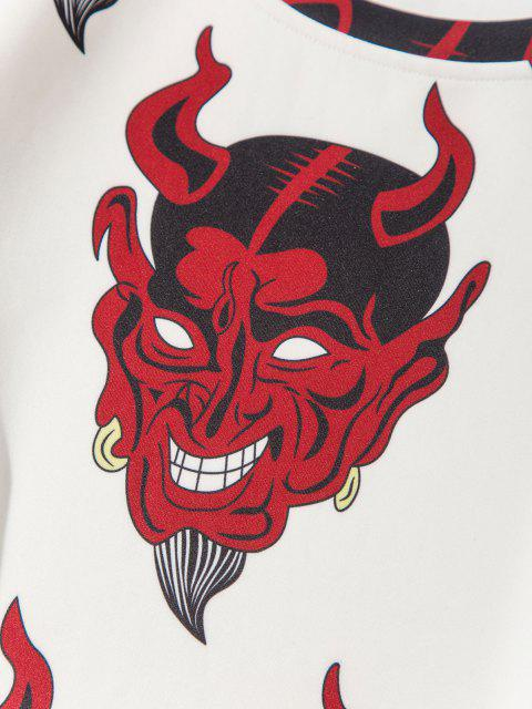 affordable Terrible Devil Pattern Pullover Sweatshirt - WHITE XL Mobile