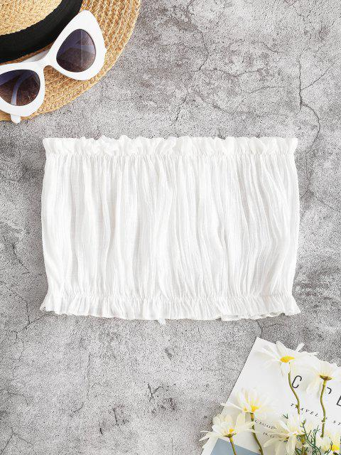 womens Ruffle Hem Bowknot Beach Bandeau Top - WHITE ONE SIZE Mobile
