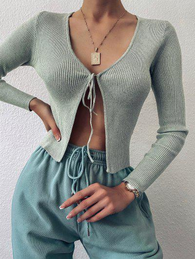 ZAFUL Tie Front Ribbed Solid Cardigan - Green M