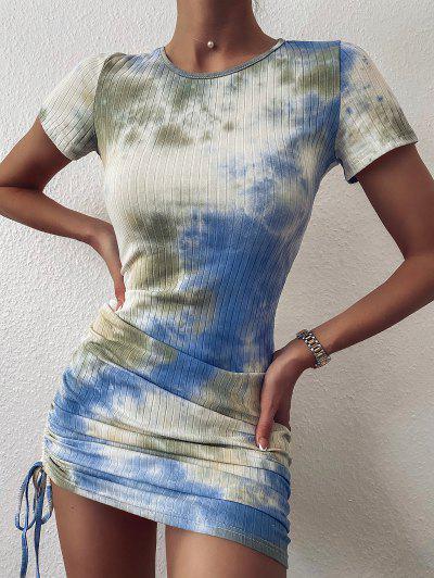 ZAFUL Cinched Tie Dye Ribbed Bodycon Dress - Light Blue M