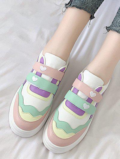 Colorblock Heart Pattern Hook And Loop Skate Shoes - Light Pink Eu 40