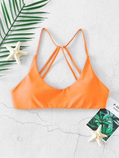 ZAFUL Strappy Back Padded Cami Bikini Top - Orange S