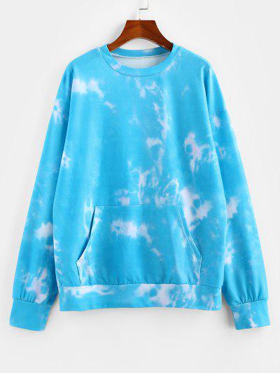 ZAFUL Tie Dye Kangaroo Pocket Drop Shoulder Sweatshirt - Light Blue L