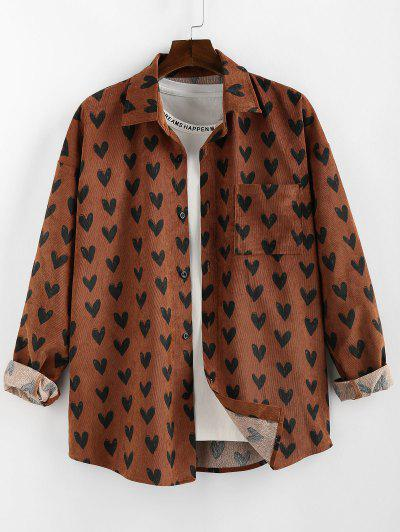 ZAFUL Heart Pattern Pocket Long Sleeve Shirt - Coffee M