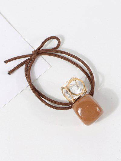 Square Pendant Layers Hair Tie - Coffee