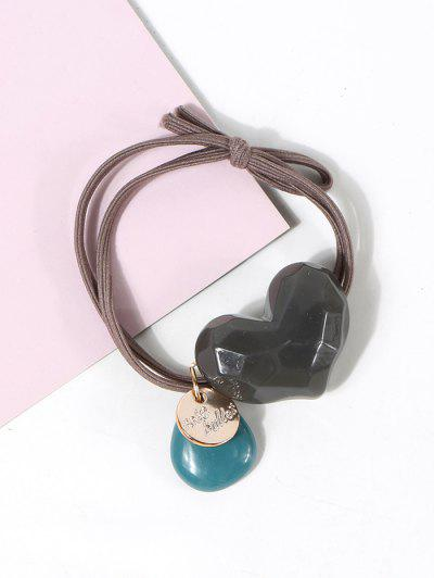 Heart Shape Pendant Hair Tie - Dark Gray