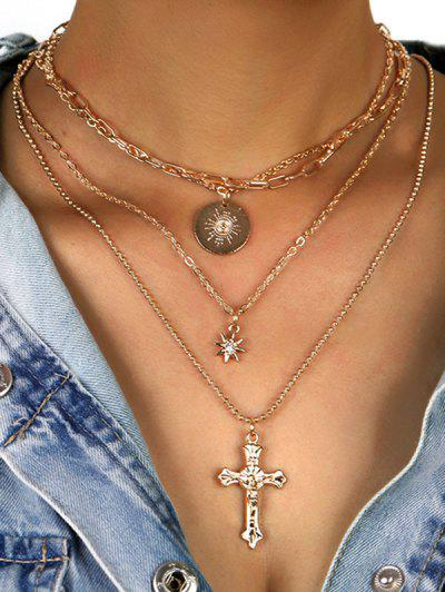 Rhinestone Star Cross Disc Shape Layered Necklace - Golden