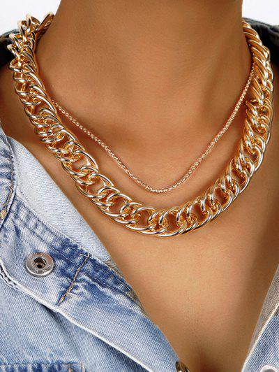 Alloy Layered Steampunk Necklace - Golden