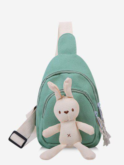 Cute Rabbit Canvas Chest Bag - Light Green